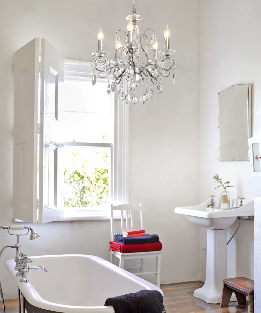 Current Madeleine 5 Light Crystal Chandelier In Chrome Throughout Crystal Chandelier Bathroom Lighting (View 10 of 20)