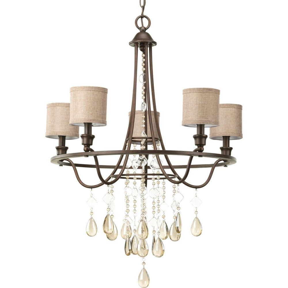 Current Progress Lighting Flourish Collection 5 Light Cognac Chandelier With Within Linen Chandeliers (View 3 of 20)