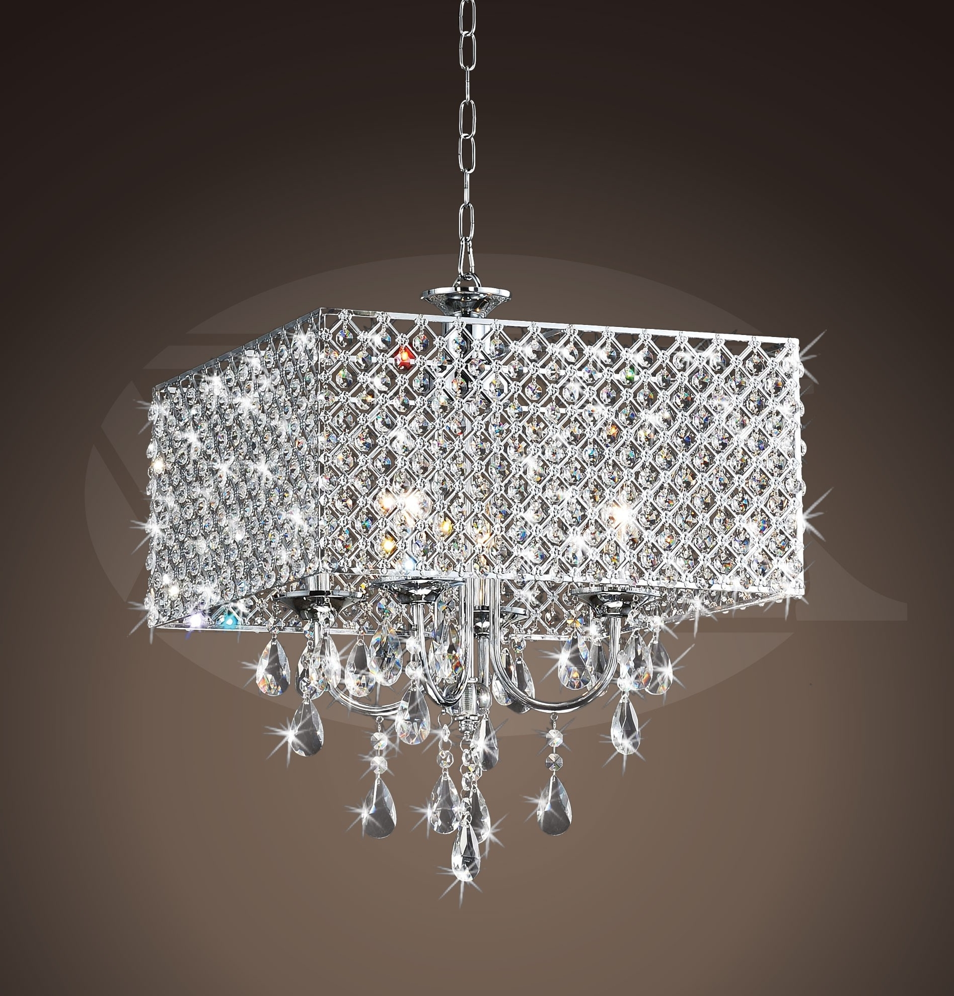 "Current Rosemary Elegant Crystal Chrome 4 Light Square Chandelier (16""h X 17 Regarding 4 Light Chrome Crystal Chandeliers (View 13 of 20)"