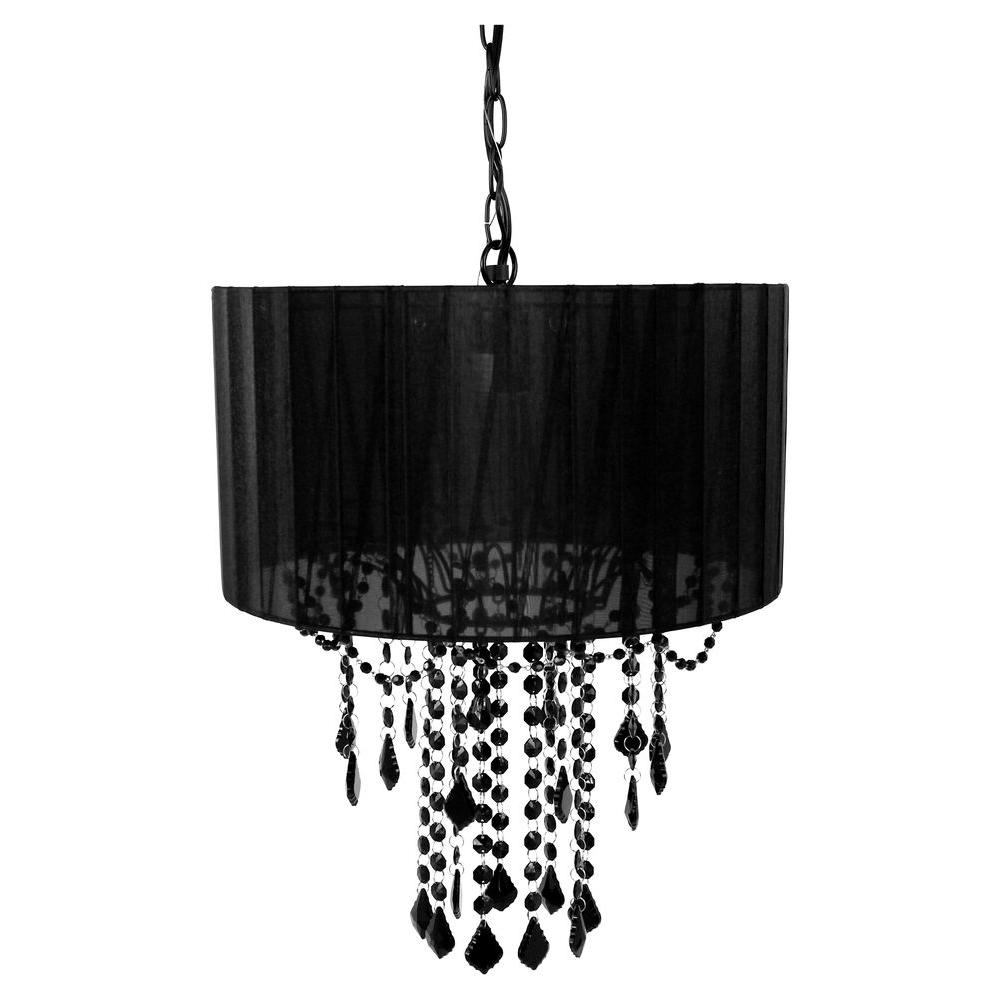 Current Tadpoles 1 Light Black Chandelier Shade Cchash020 – The Home Depot Within Black Chandeliers (View 4 of 20)