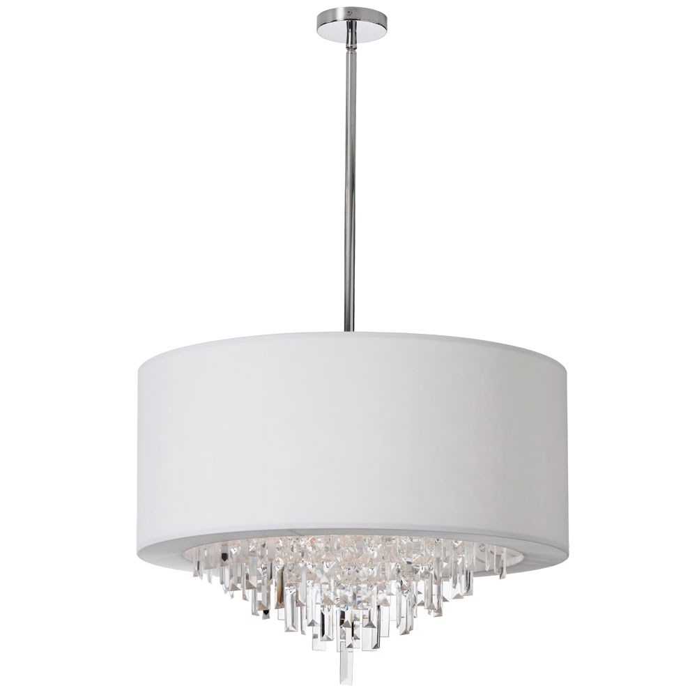 Dainolite Jas 258C Pc Jasmine 8 Light Crystal Chandelier In Polished Pertaining To Preferred Chandelier With Shades And Crystals (View 15 of 20)