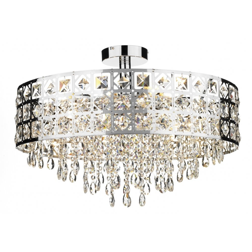 Decorative Modern Flush Ceiling Light With Chrome & Crystal Decoration For Recent Modern Chandeliers For Low Ceilings (View 6 of 20)