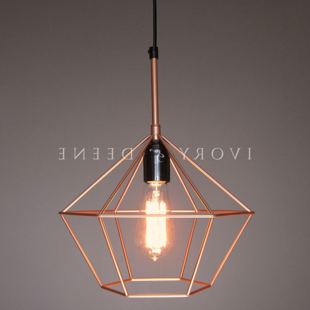 Diamond Cage Pendant Copper Tone Wire Lamp Light Retro Chandelier Regarding Most Up To Date Copper Chandelier (Gallery 1 of 20)