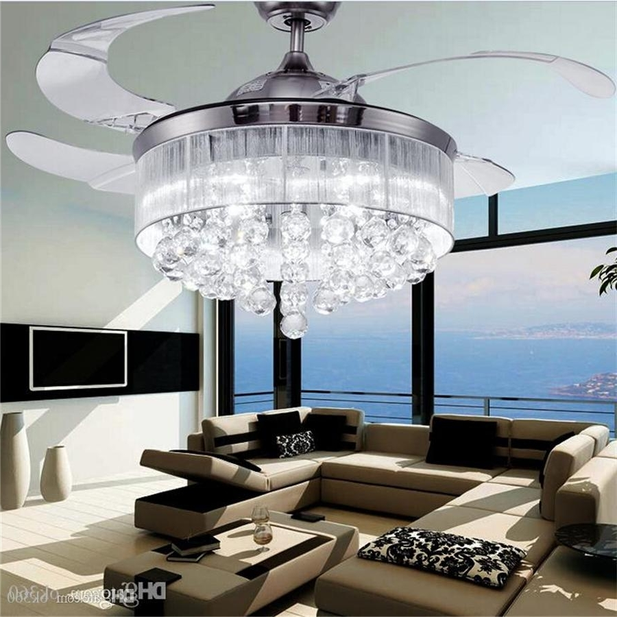 Discount Led Ceiling Fans Light Ac 110V 220V Invisible Blades Intended For Favorite Chandelier Lights For Living Room (Gallery 1 of 20)