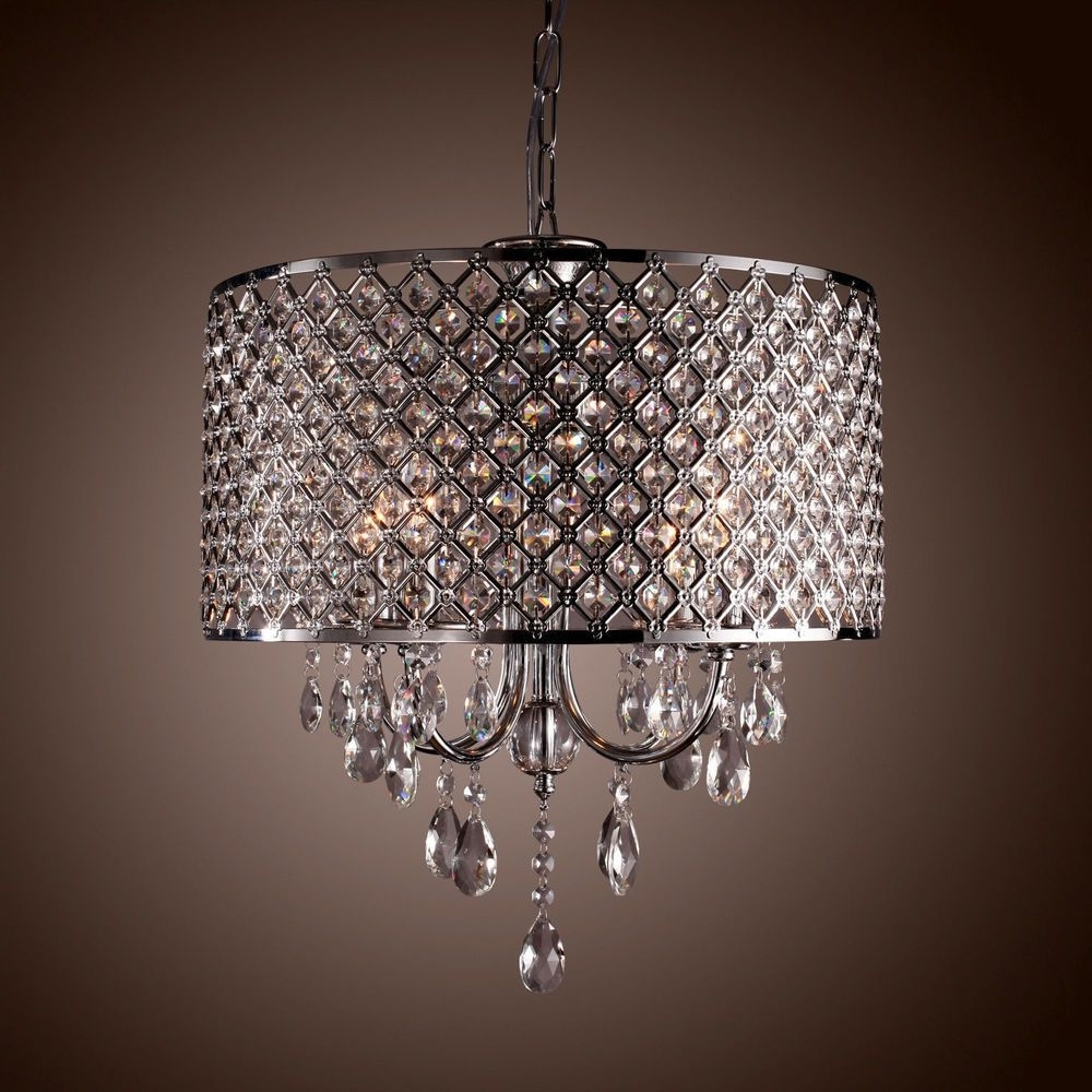 Drum Crystal Chandelier Modern 4 Lights Shade Pendant Lamp Living Inside Most Recent 4 Light Chrome Crystal Chandeliers (View 10 of 20)