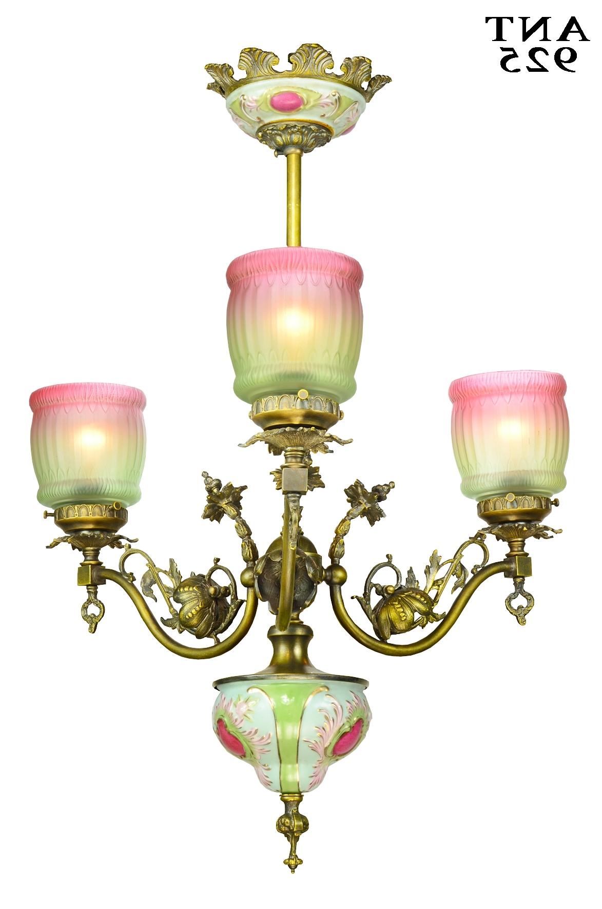 Edwardian Chandelier Intended For Famous Vintage Hardware & Lighting – Antiqued Brass Finished Fhree Light (Gallery 17 of 20)