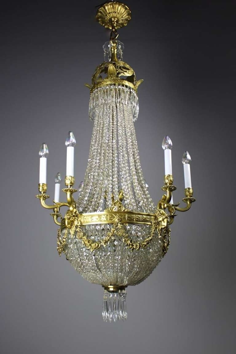 Edwardian Chandelier Throughout Widely Used Edwardian White Cut Crystal Basket Chandelier For Sale At 1Stdibs (Gallery 12 of 20)