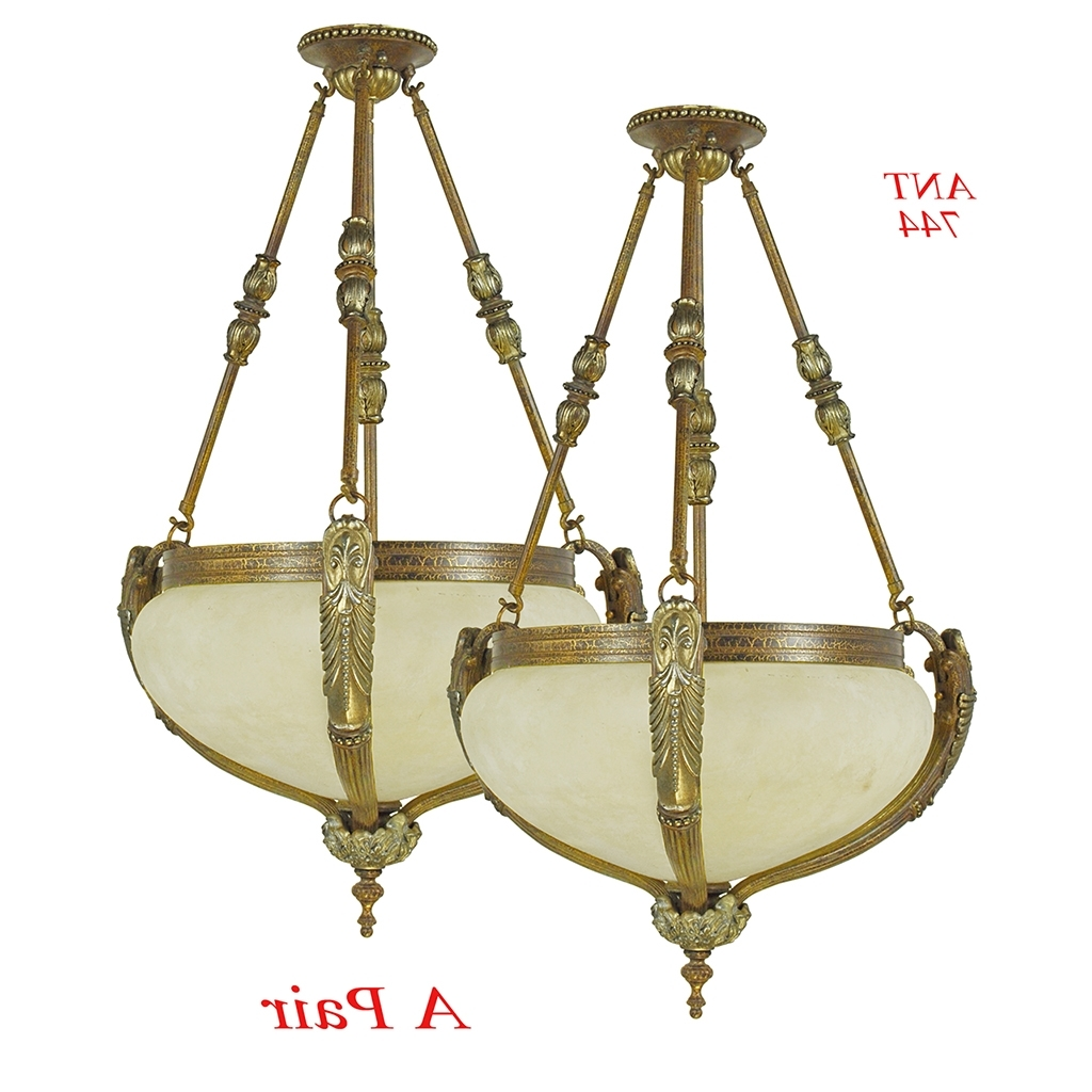 Edwardian Chandeliers Regarding Most Recent Vintage Rewired Pair Of Edwardian Chandeliers Ceiling Bowl Lights (View 7 of 20)