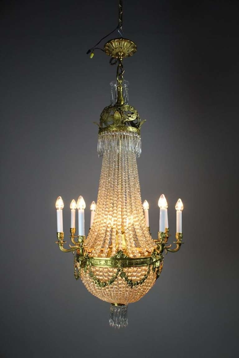 Edwardian White Cut Crystal Basket Chandelier For Sale At 1Stdibs Intended For 2018 Edwardian Chandeliers (View 8 of 20)