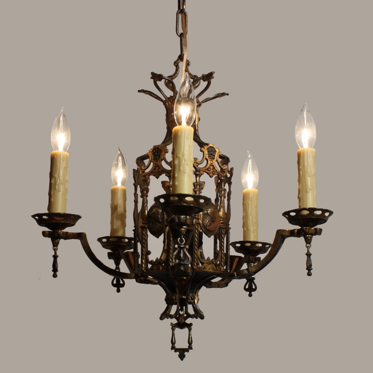 Egyptian Chandelier Pertaining To Trendy Stunning Antique Egyptian Revival Figural Chandelier With Cameos, C (Gallery 5 of 20)