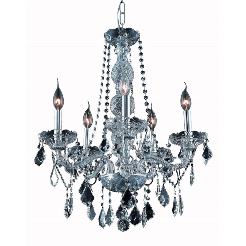 Elegant Lighting 5 Light Silver Chandelier With Grey Crystal Regarding Well Liked Grey Crystal Chandelier (View 2 of 20)