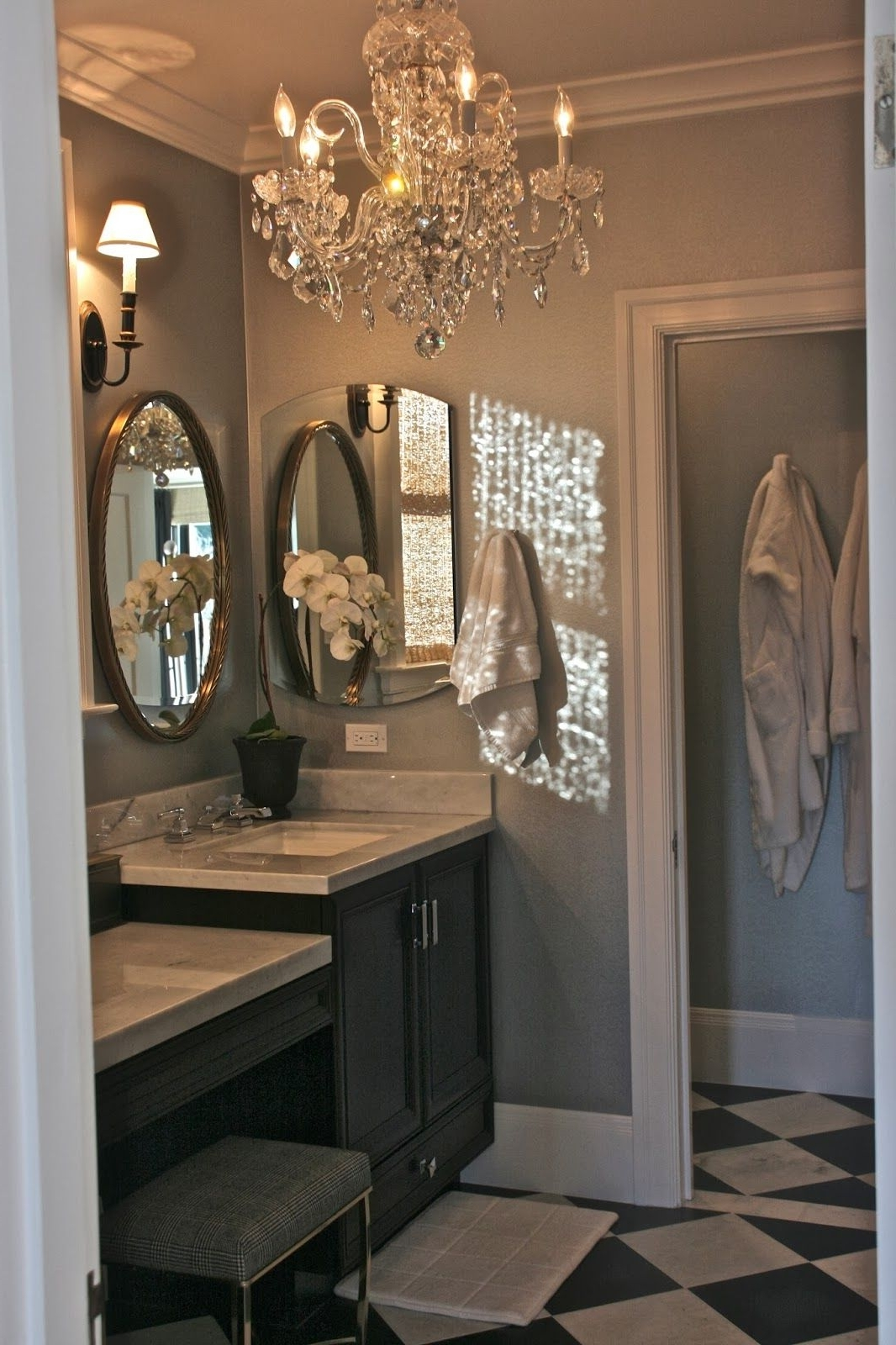 Elegant Retreat. . .oval Mirror Framed In Cherry, Silvery Blue On With Well Known Bathroom Lighting Chandeliers (Gallery 10 of 20)