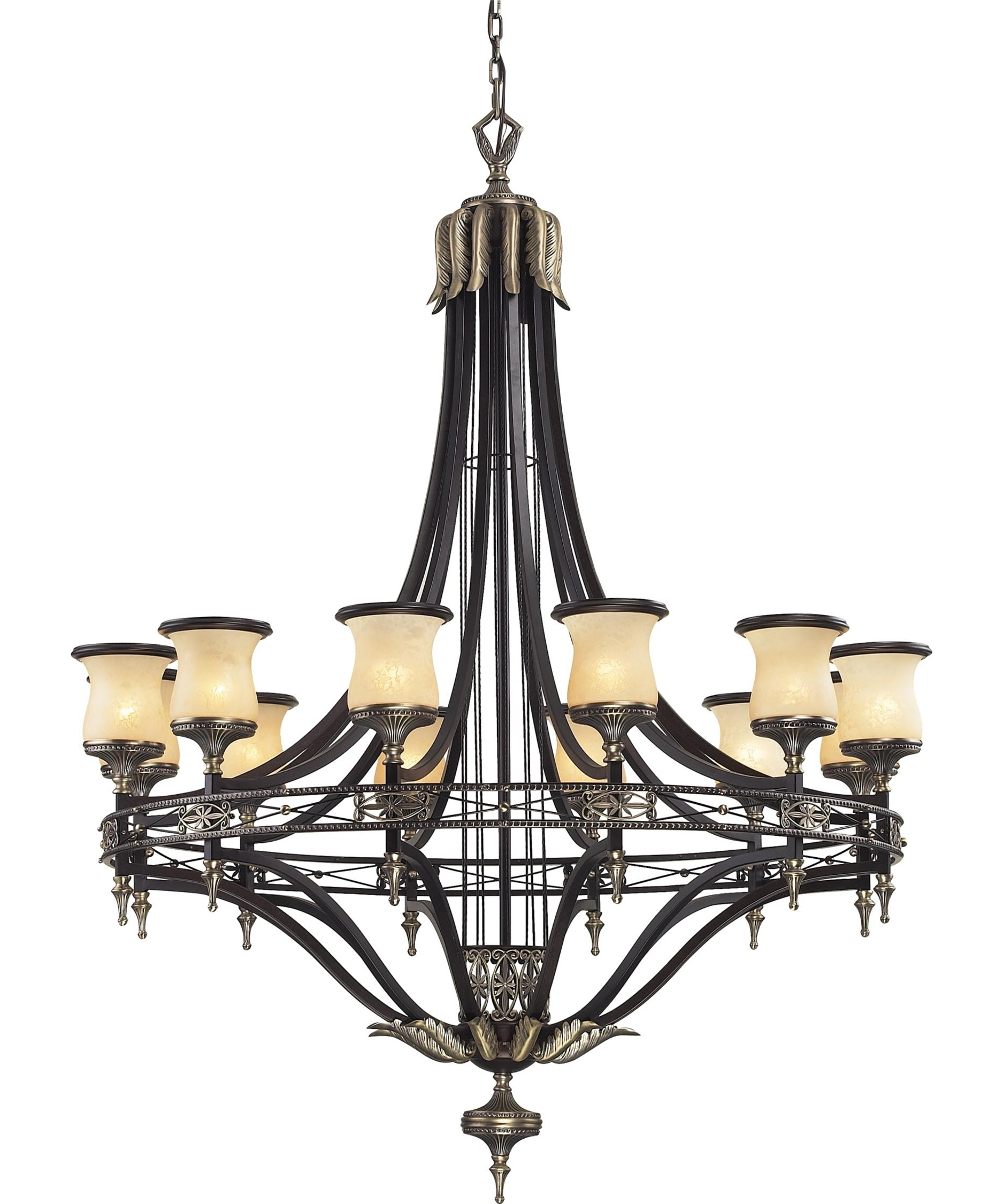 Elk Lighting 2434 12 Georgian Court 48 Inch Wide 12 Light Chandelier With Regard To Recent Georgian Chandeliers (Gallery 5 of 20)