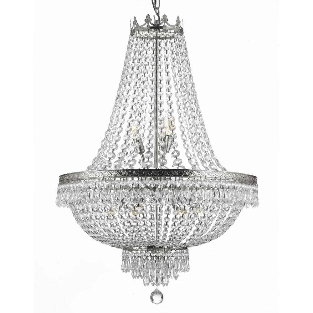 Empire 9 Light Crystal Silver Chandelier T40 226 – The Home Depot With Regard To Most Recent Silver Chandeliers (Gallery 4 of 20)