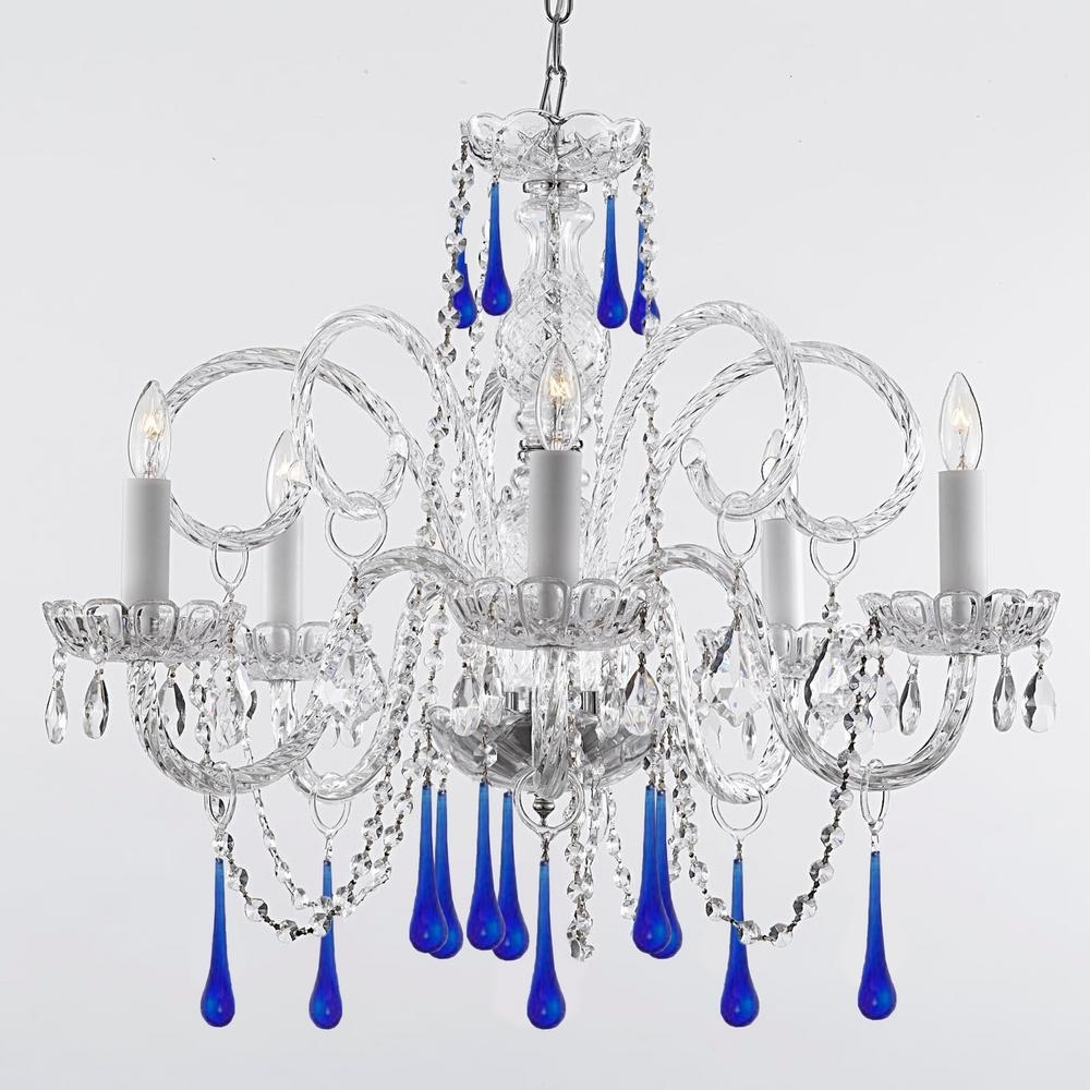 Empress 5 Light Crystal Chandelier With Blue Crystal Trimmed With Inside Most Up To Date Crystal Chandeliers (View 17 of 20)