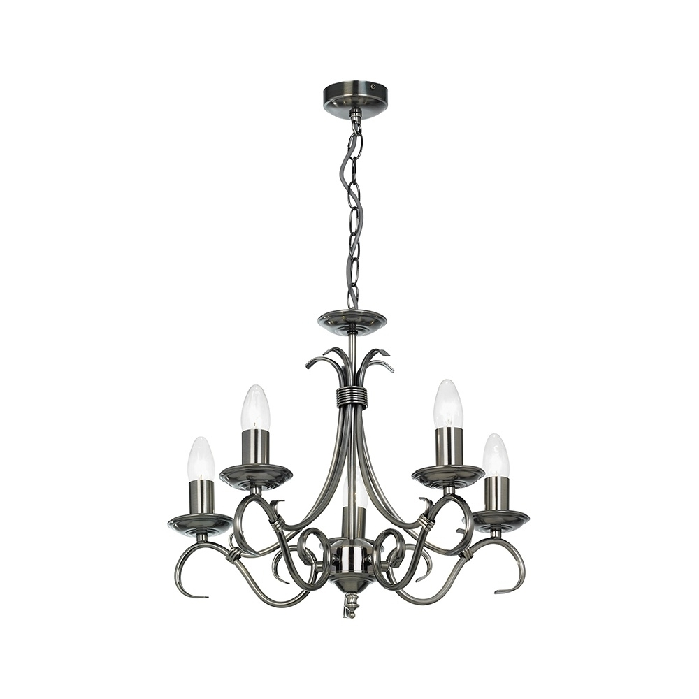 Endon 2030 5As 5 Light Chandelier In Antique Silver – Lighting From With Regard To Well Liked Endon Lighting Chandeliers (View 5 of 20)