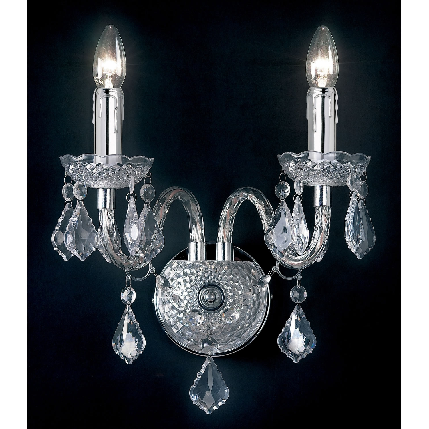 Endon Lighting 2 Light Wall Chandelier In Clear E2 80 93 Next Day For Well Known Chandelier Wall Lights (View 7 of 20)