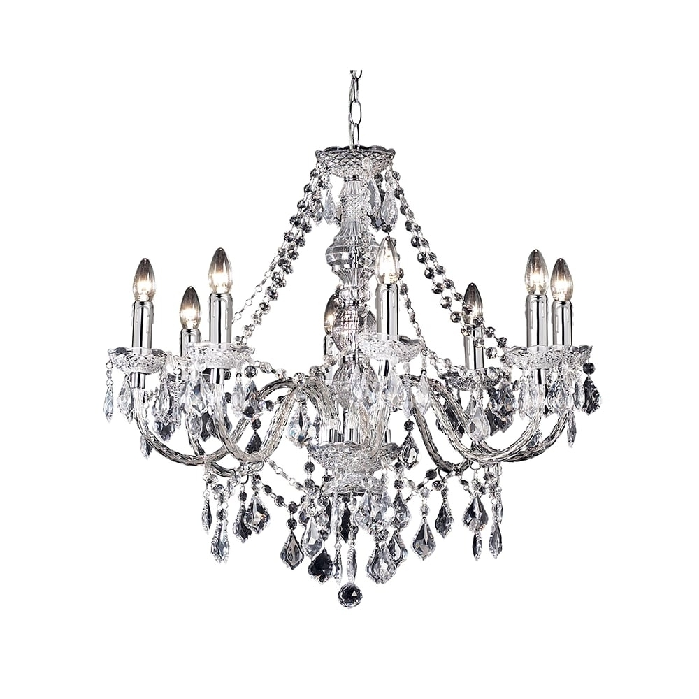 Endon Lighting Chandeliers Regarding Preferred Endon Clarence 308 8cl 8 Light Pendant Light In Clear Acrylic At (View 10 of 20)