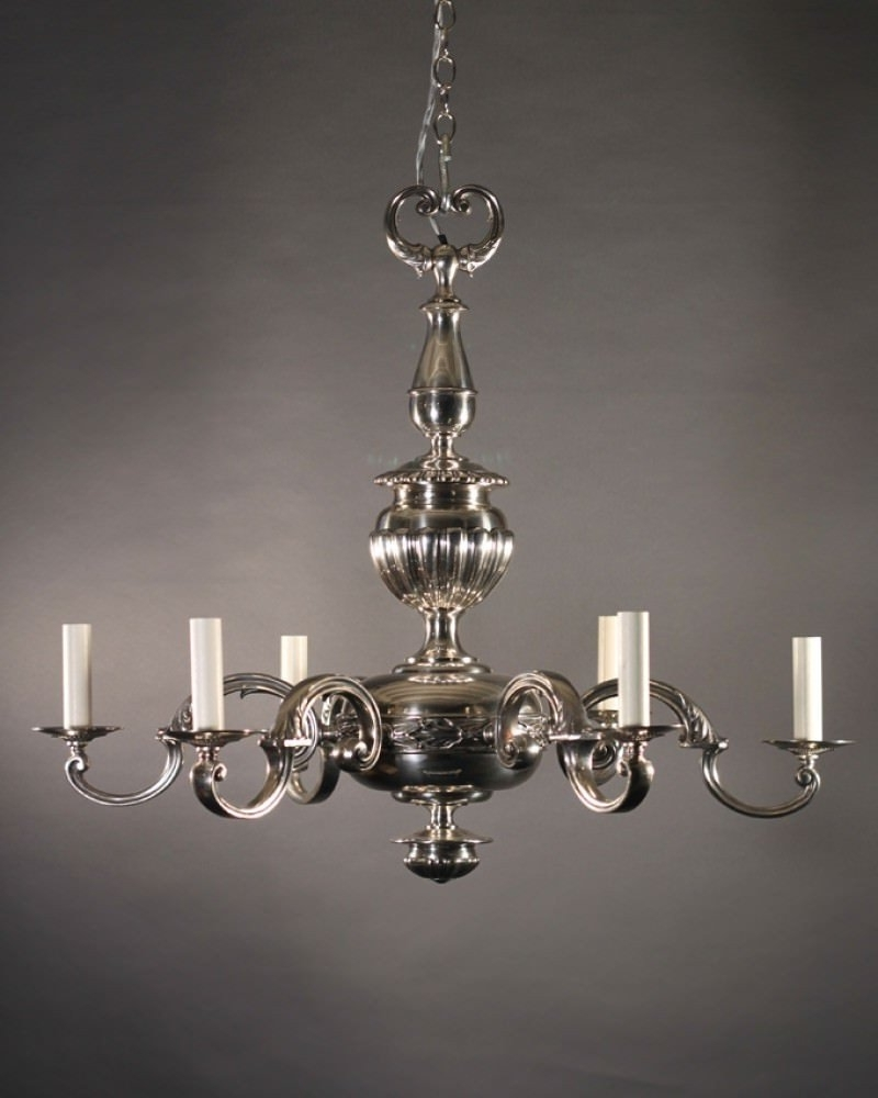 English Edwardian Chandelier In Silver Plate For Widely Used Edwardian Chandeliers (View 9 of 20)