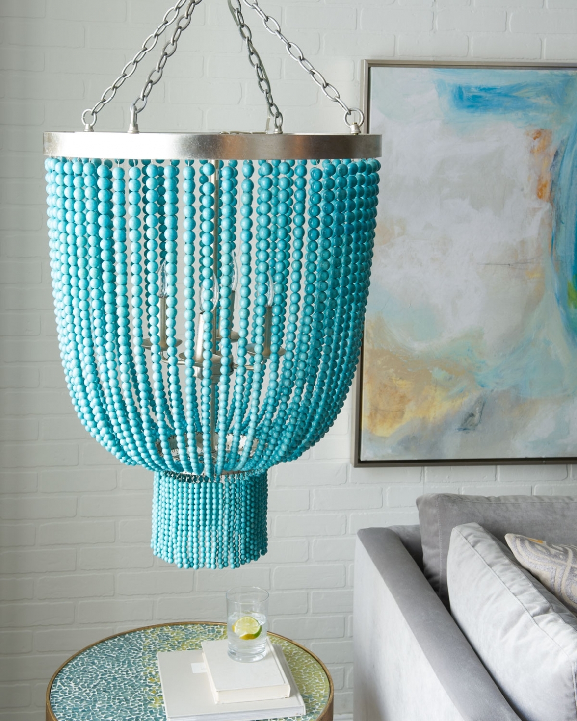 Everything Turquoise Turquoise Wood Beaded With Diy Turquoise Beaded Chandeliers (Gallery 10 of 20)