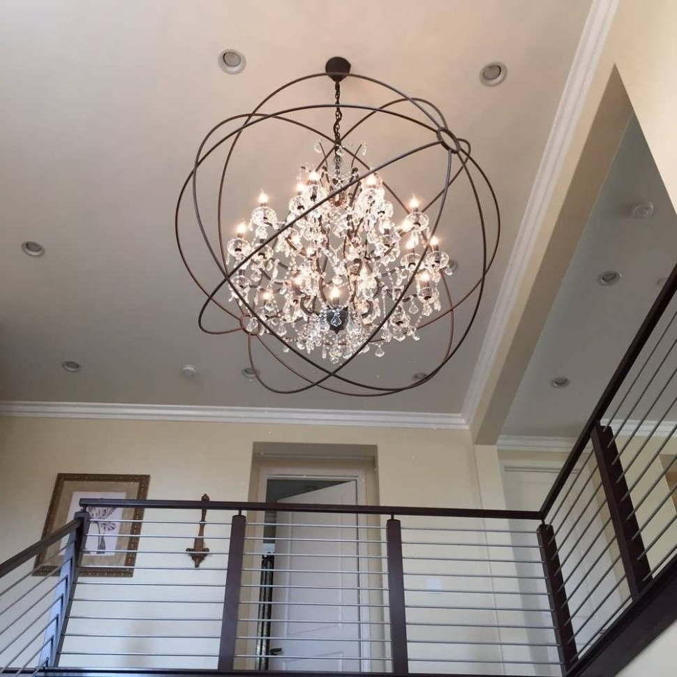 Extra Large Modern Chandeliers Inside Newest Chandelier : Chandelier Silver Orb Chandelier Contemporary Crystal (View 5 of 20)
