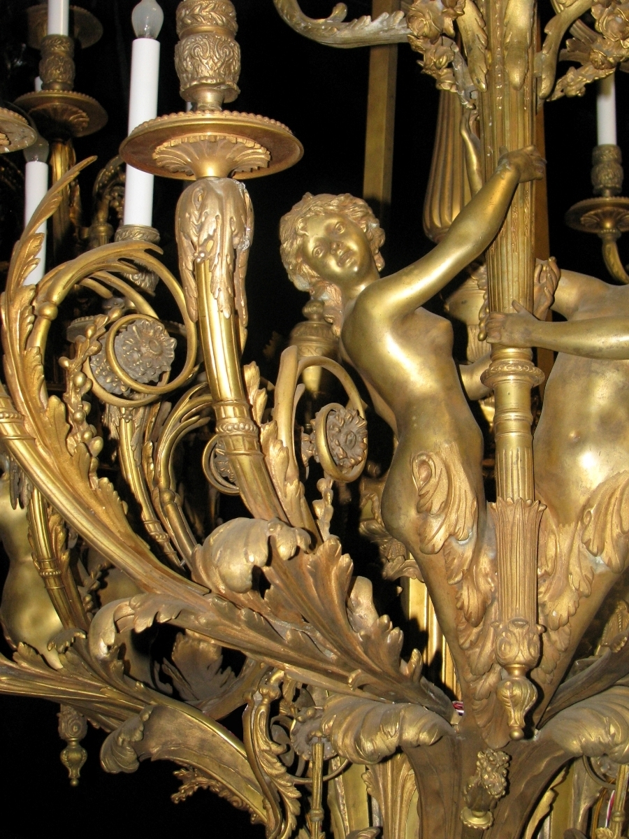 Extraordinary Antique French Louis Xv Style Bronze Figural 39 Light Throughout Latest French Bronze Chandelier (Gallery 3 of 20)