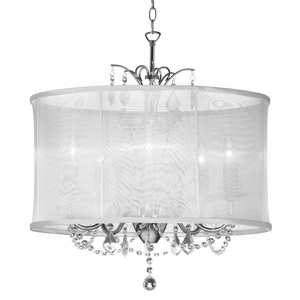Fabric Drum Shade Chandeliers In Popular Radionic Hi Tech Vanessa 5 Light Polished Chrome Maple Droplets (View 8 of 20)