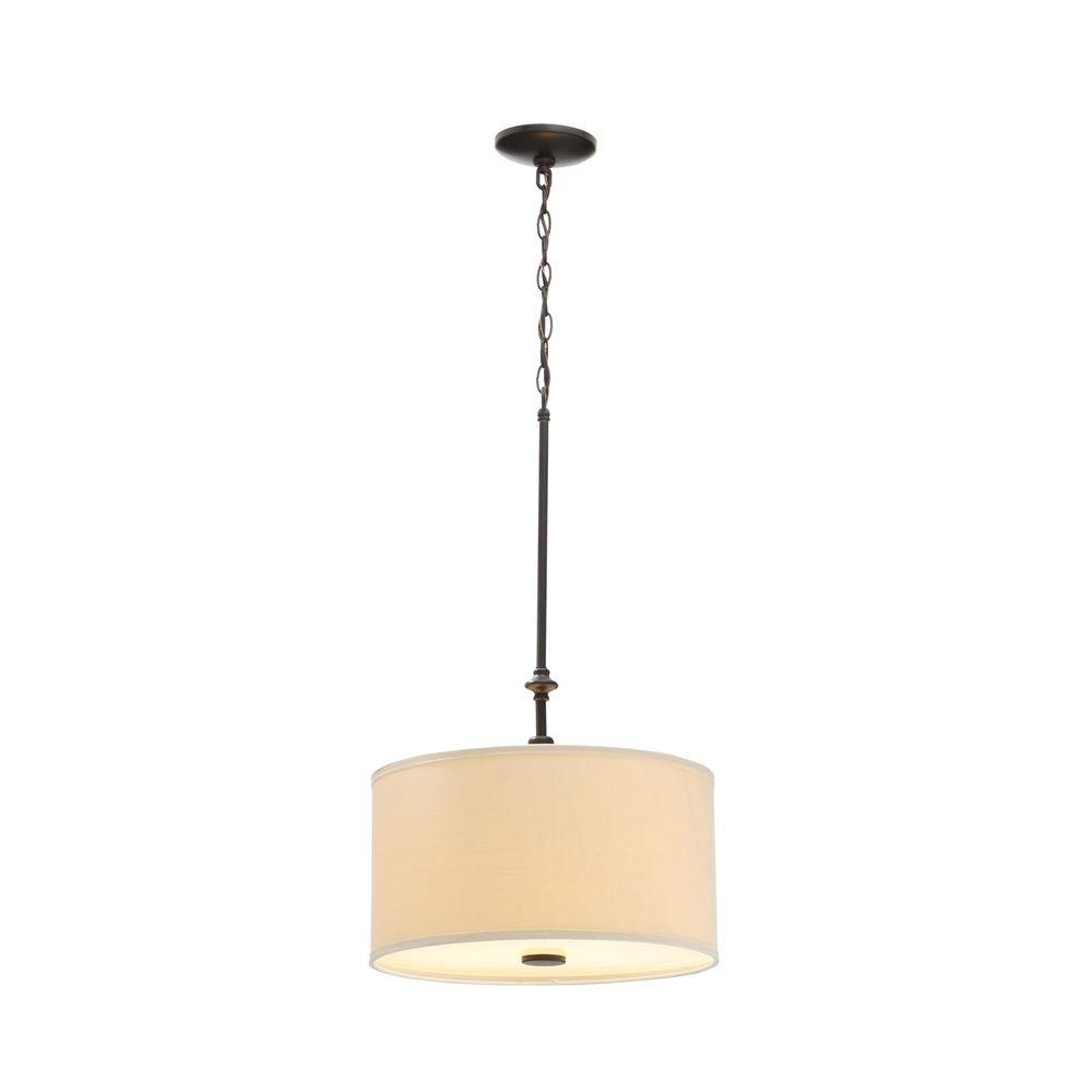 Fabric Drum Shade Chandeliers Pertaining To Favorite Hampton Bay Quincy 2 Light Oil Rubbed Bronze Drum Pendant With (View 10 of 20)