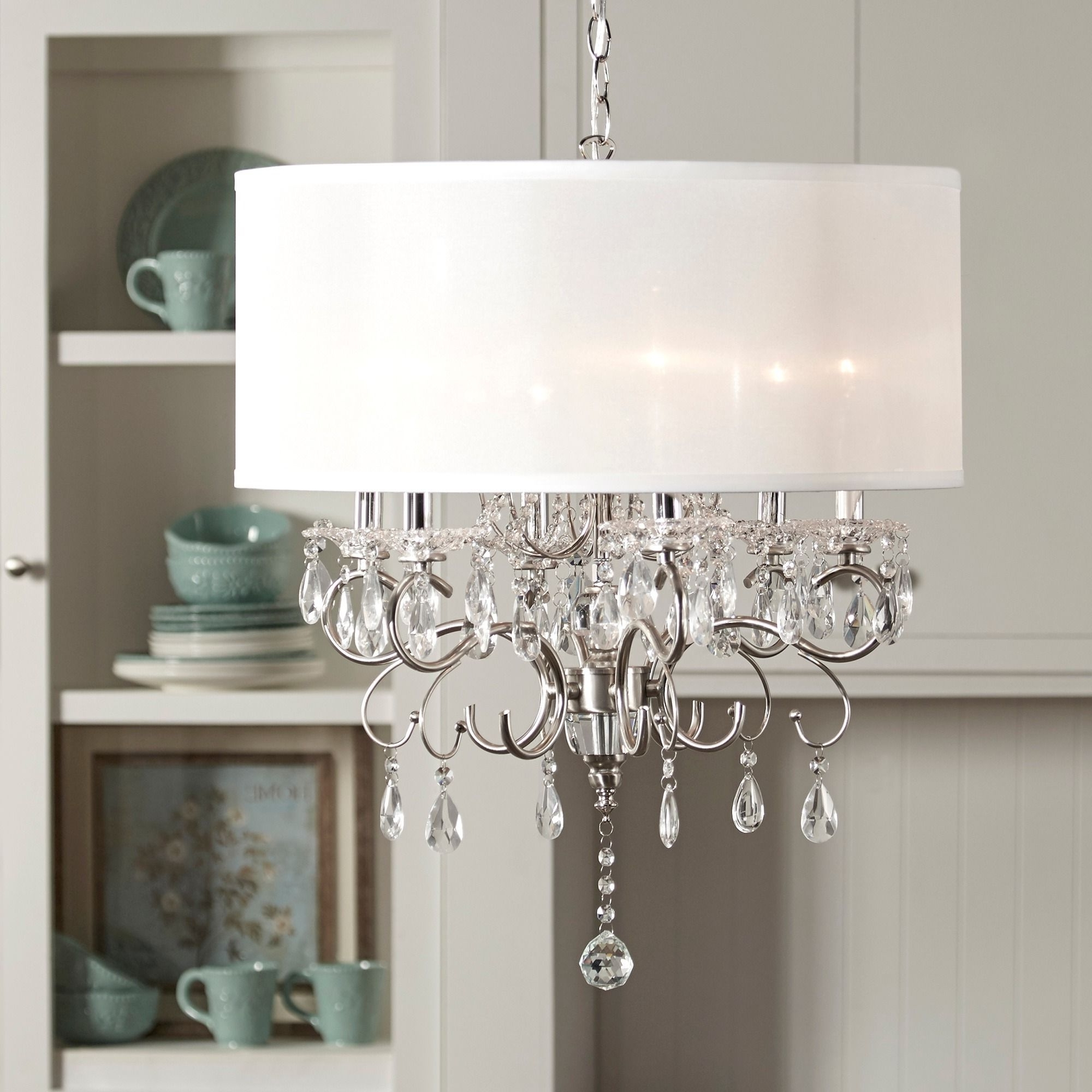 Fabric Drum Shade Chandeliers Regarding Best And Newest Update Any Dining Room With This Elegant Drum Shade Chandelier (View 20 of 20)