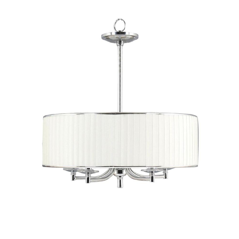 Fabric Drum Shade Chandeliers Throughout Most Popular Home Decorators Collection Anya 5 Light Chrome Pendant With Pleated (View 11 of 20)
