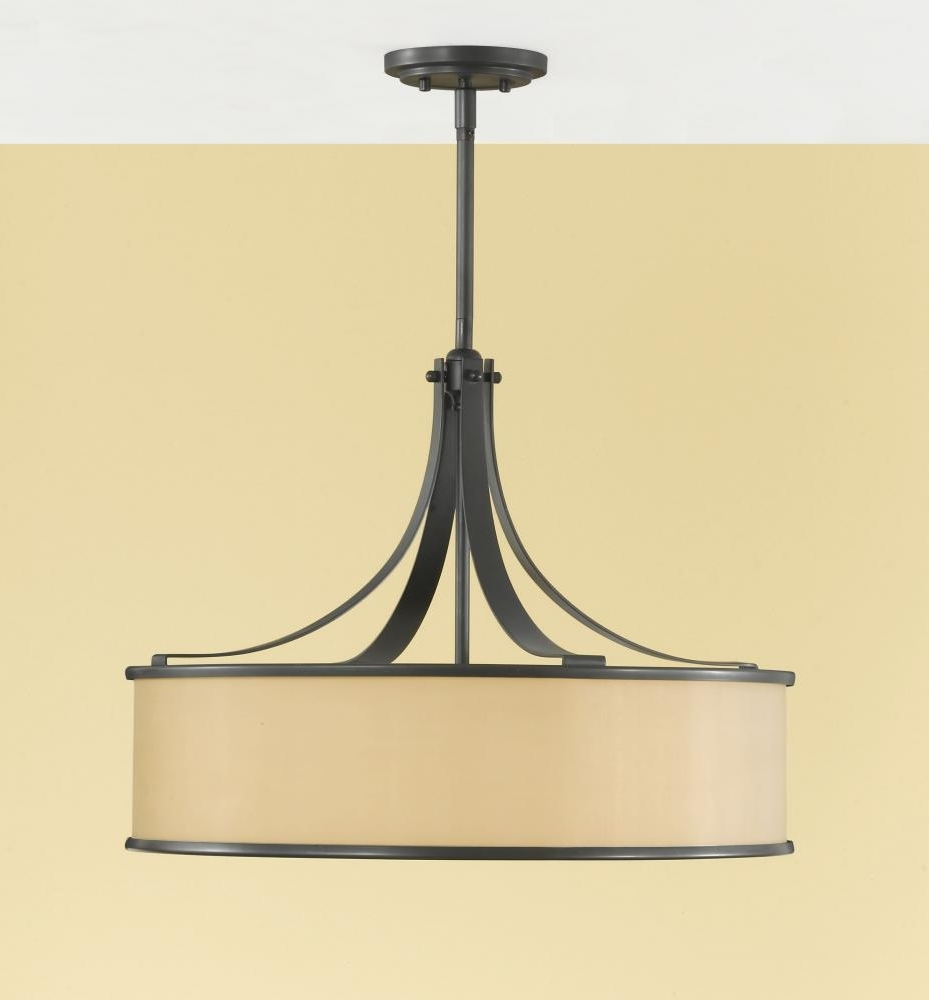 Fabric Drum Shade Chandeliers With Regard To Most Up To Date 4 – Light Shade Pendant : F2343/4Dbz (View 12 of 20)