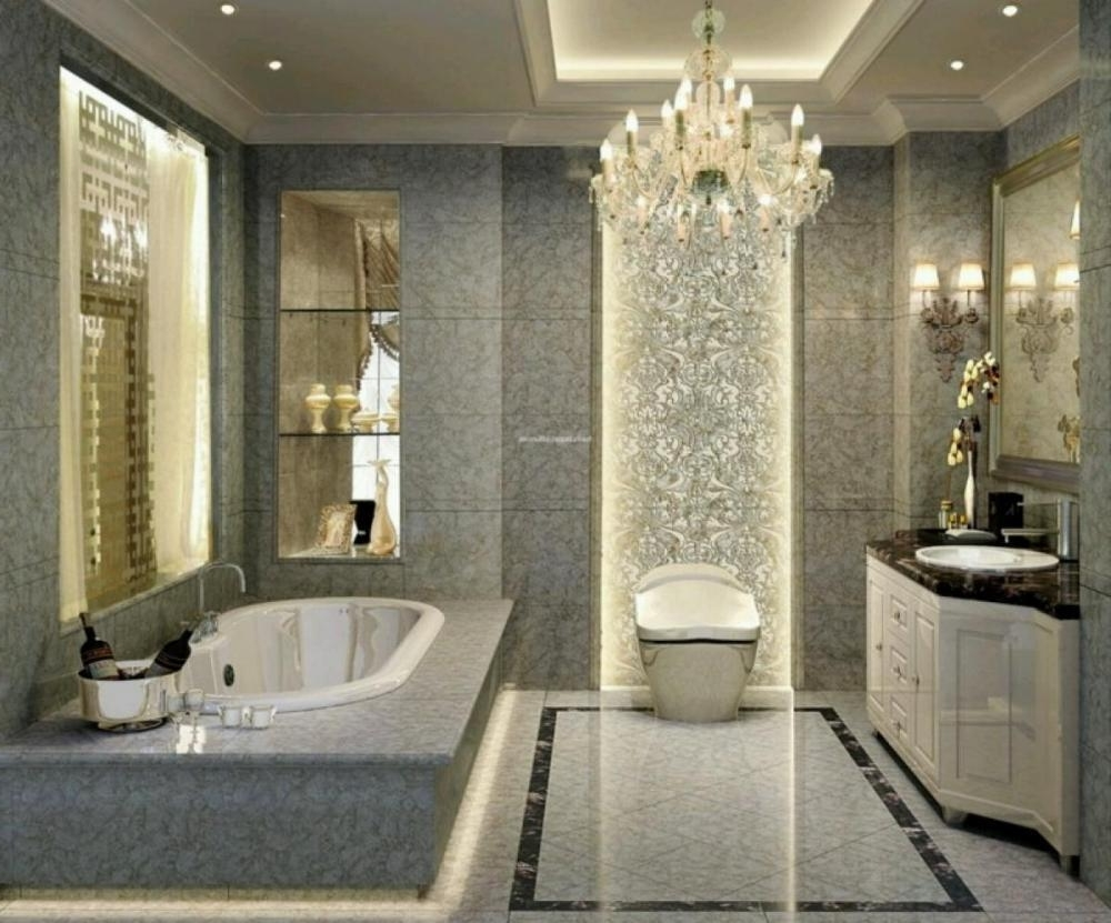 Fabulous Bathroom Chandeliers Crystal Bathroom Glamorous Crystal For Most Popular Crystal Bathroom Chandelier (View 11 of 20)