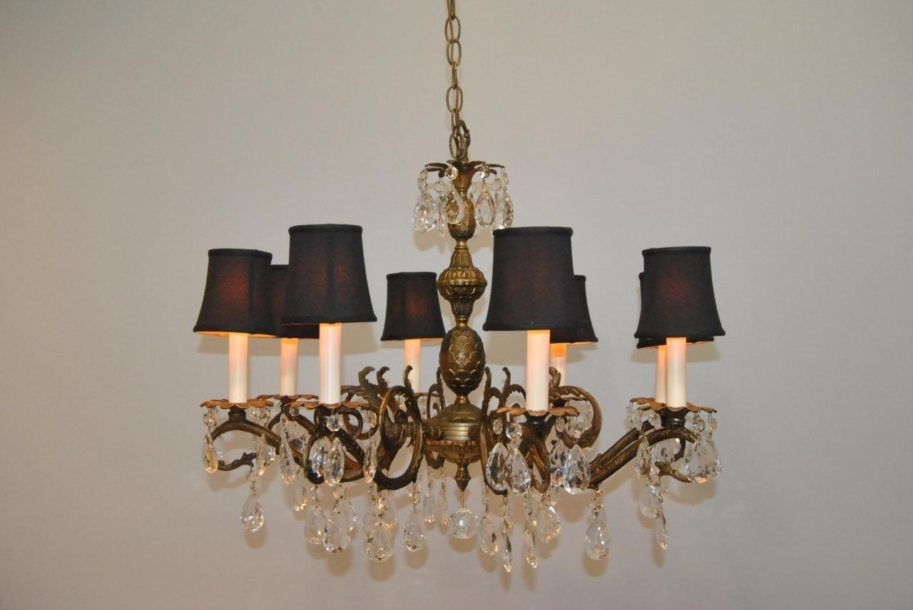 Famous Antique French Style 8 Arm Brass & Crystal Chandelier (View 5 of 20)