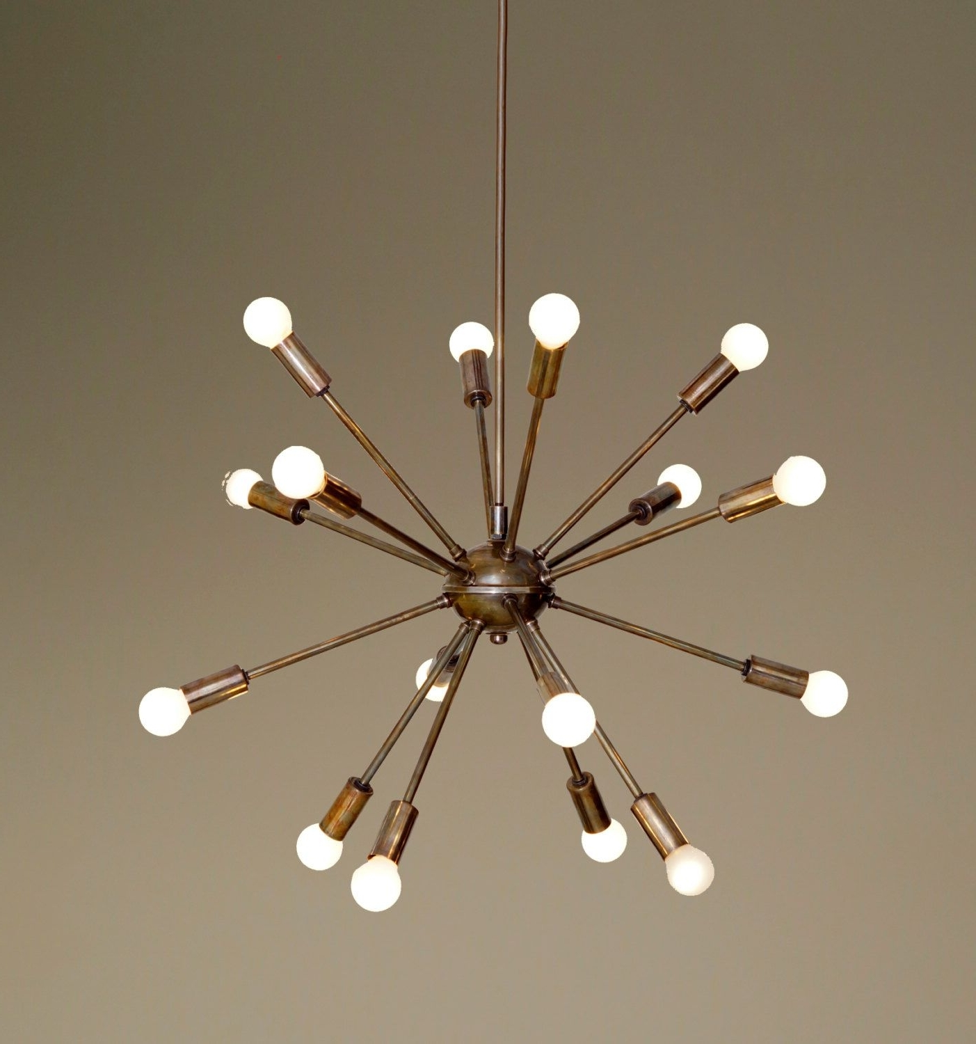 Famous Atom Chandeliers Intended For Mid Century Modern Patina Brass Sputnik Chandelier – 16 Arms Sputnik (View 13 of 20)