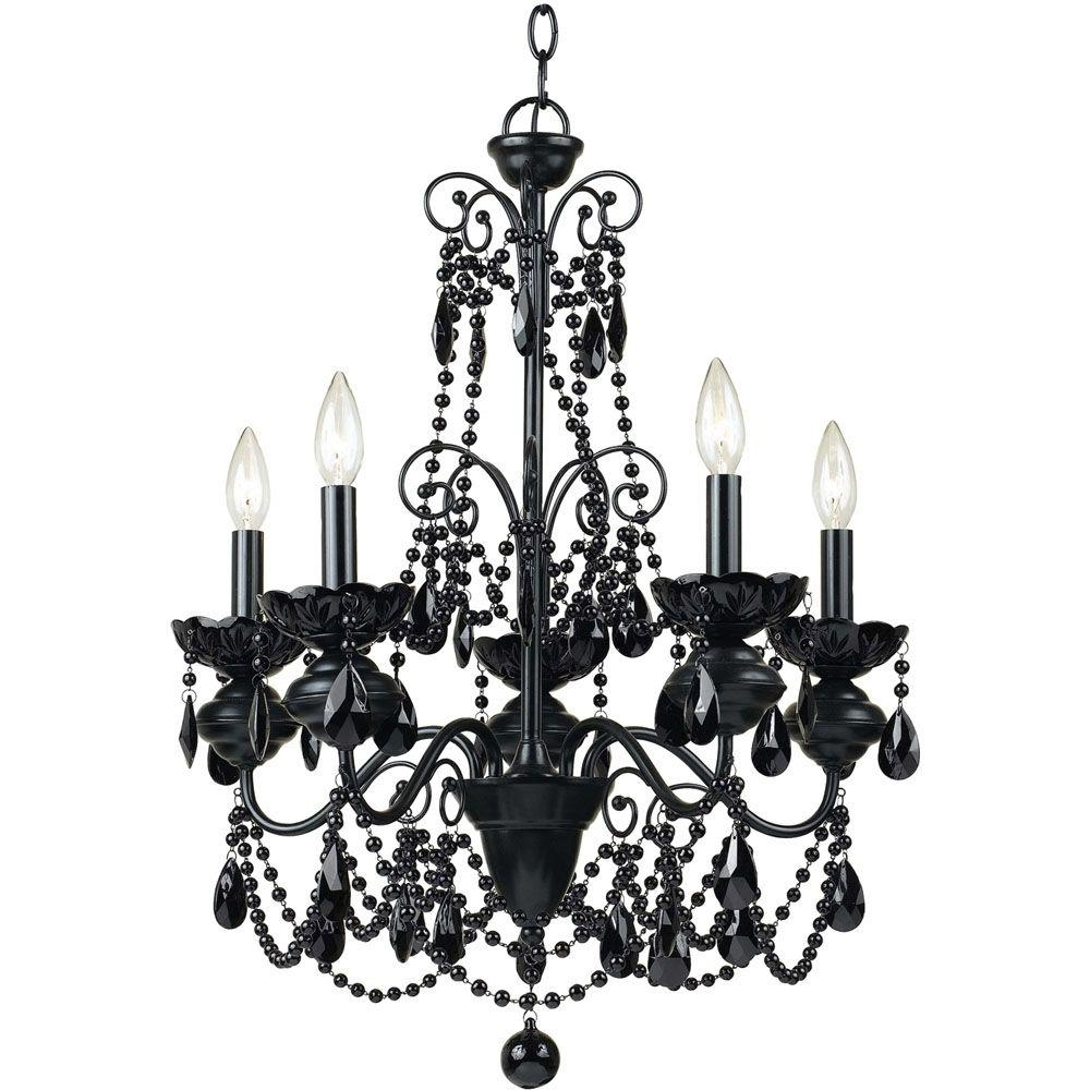 Famous Black Glass Chandeliers Throughout Af Lighting Mischief 5 Light Black Metal Chandelier With Black Glass (View 8 of 20)