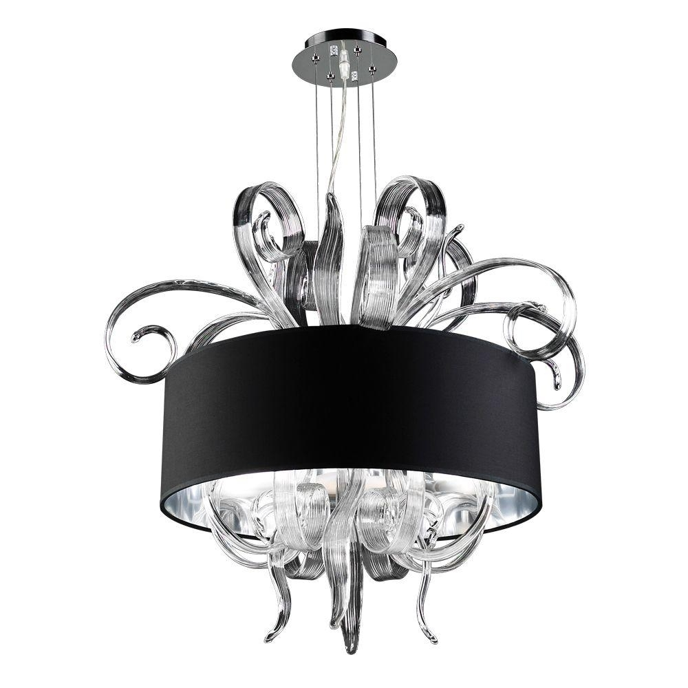 Famous Black Glass Chandeliers With Regard To Plc Lighting 4 Light Polished Chrome Chandelier With Black Fabric (View 9 of 20)