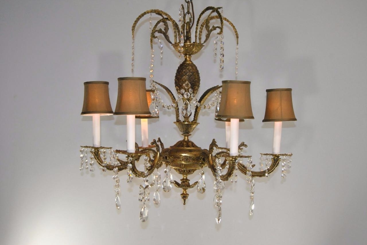 Famous Brass And Glass Chandelier Throughout Antique 6 Arm French Style Brass & Cutt Glass Chandelier Light (View 9 of 20)