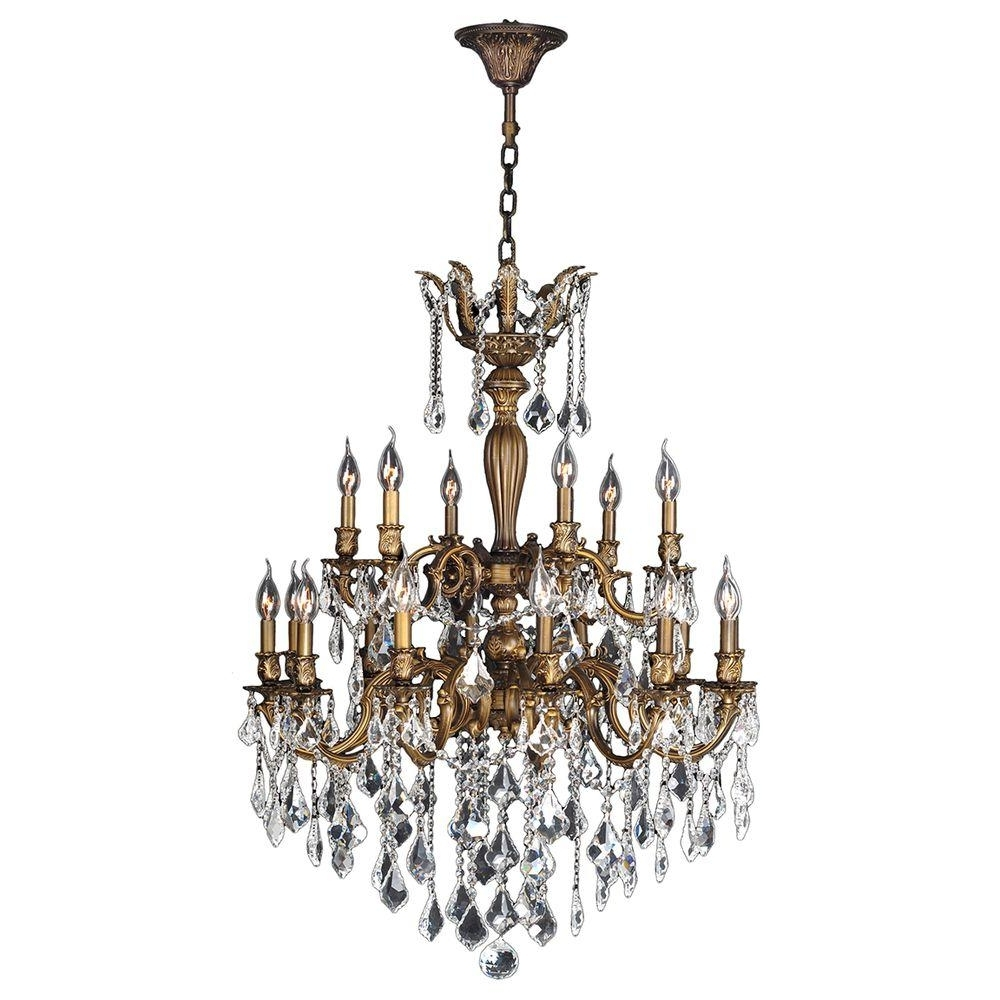 Famous Bronze And Crystal Chandeliers Within Worldwide Lighting Versailles 18 Light Antique Bronze Crystal (View 2 of 20)