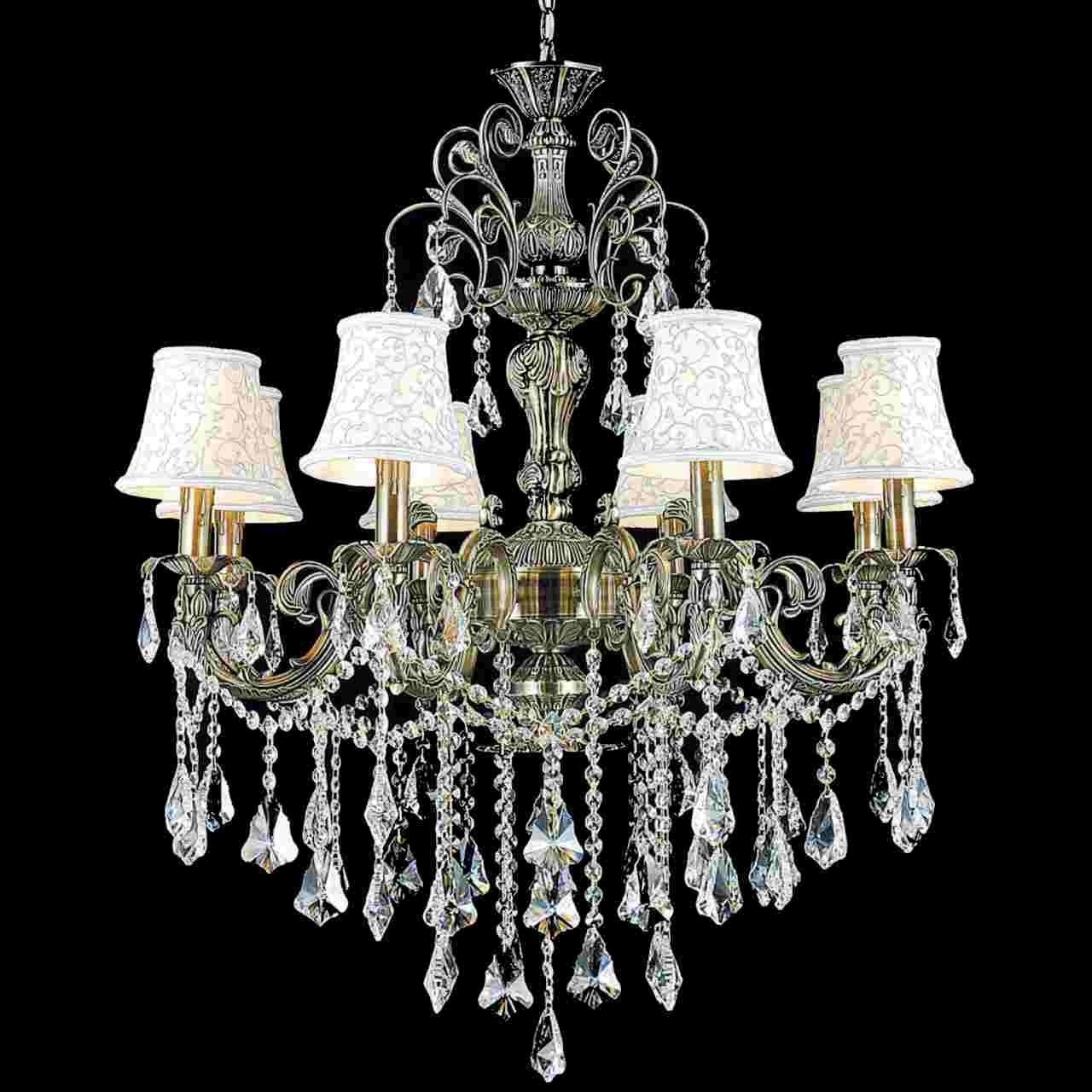 Famous Chandelier With Shades And Crystals Regarding Brizzo Lighting Stores (View 6 of 20)