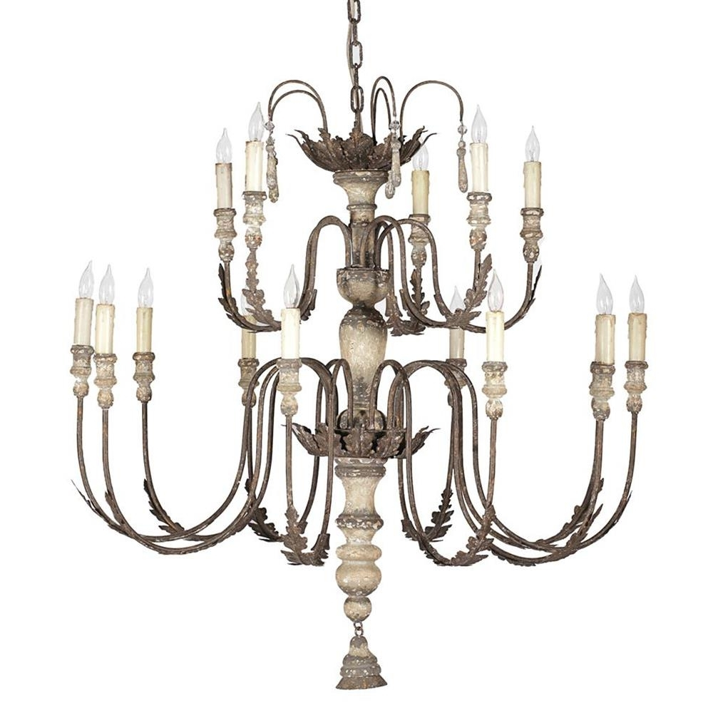 Famous French Country Chandeliers For Katrina Antique Silver French Country 14 Light Chandelier (View 9 of 20)