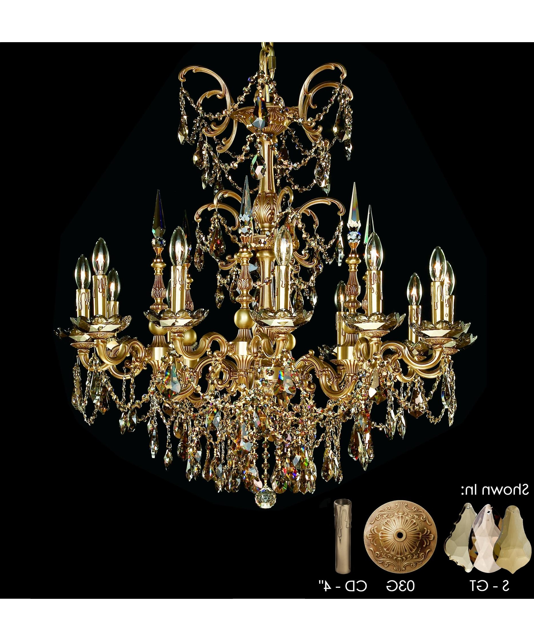 Famous French Gold Chandelier Throughout American Brass And Crystal Ch9382 Venetian 32 Inch Wide 12 Light (View 6 of 20)