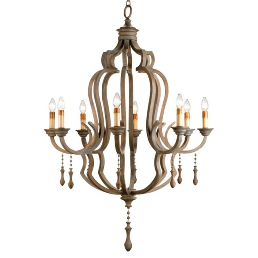 Famous French Wooden Chandelier Intended For Wood Beaded Corinne Chandelier Normandy Large French Wood 8 Light (View 8 of 20)