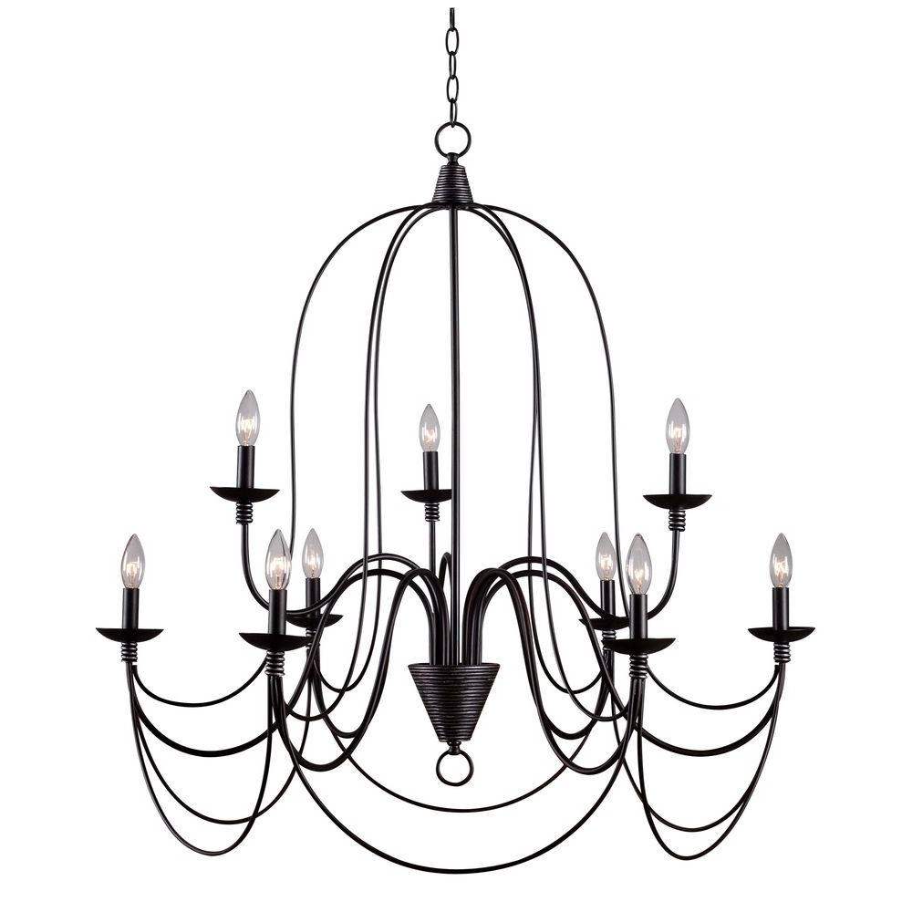 Famous Large Bronze Chandelier With Kenroy Home Pannier 9 Light Oil Rubbed Bronze With Silver Highlights (View 2 of 20)