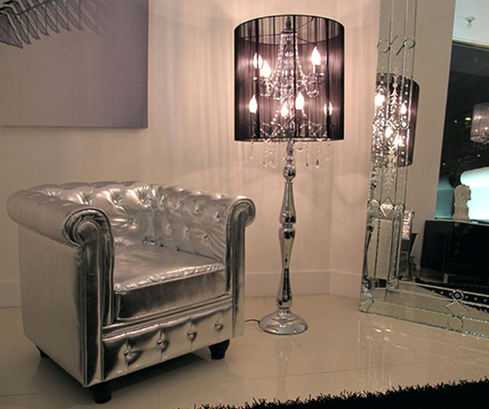 Famous Light : Black Crystal Chandelier Style Table Lamp Floor Contemporary In Black Chandelier Standing Lamps (View 11 of 20)