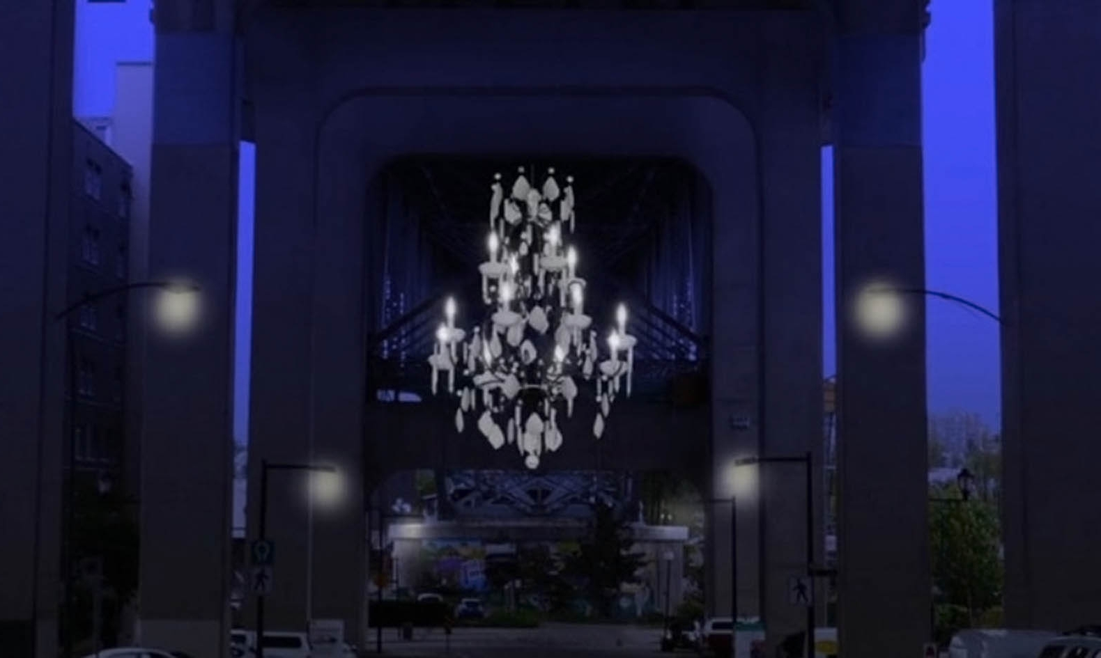 Famous Massive Chandelier Inside Vancouver Lights Up A Dark Highway Overpass With A Massive (View 7 of 20)
