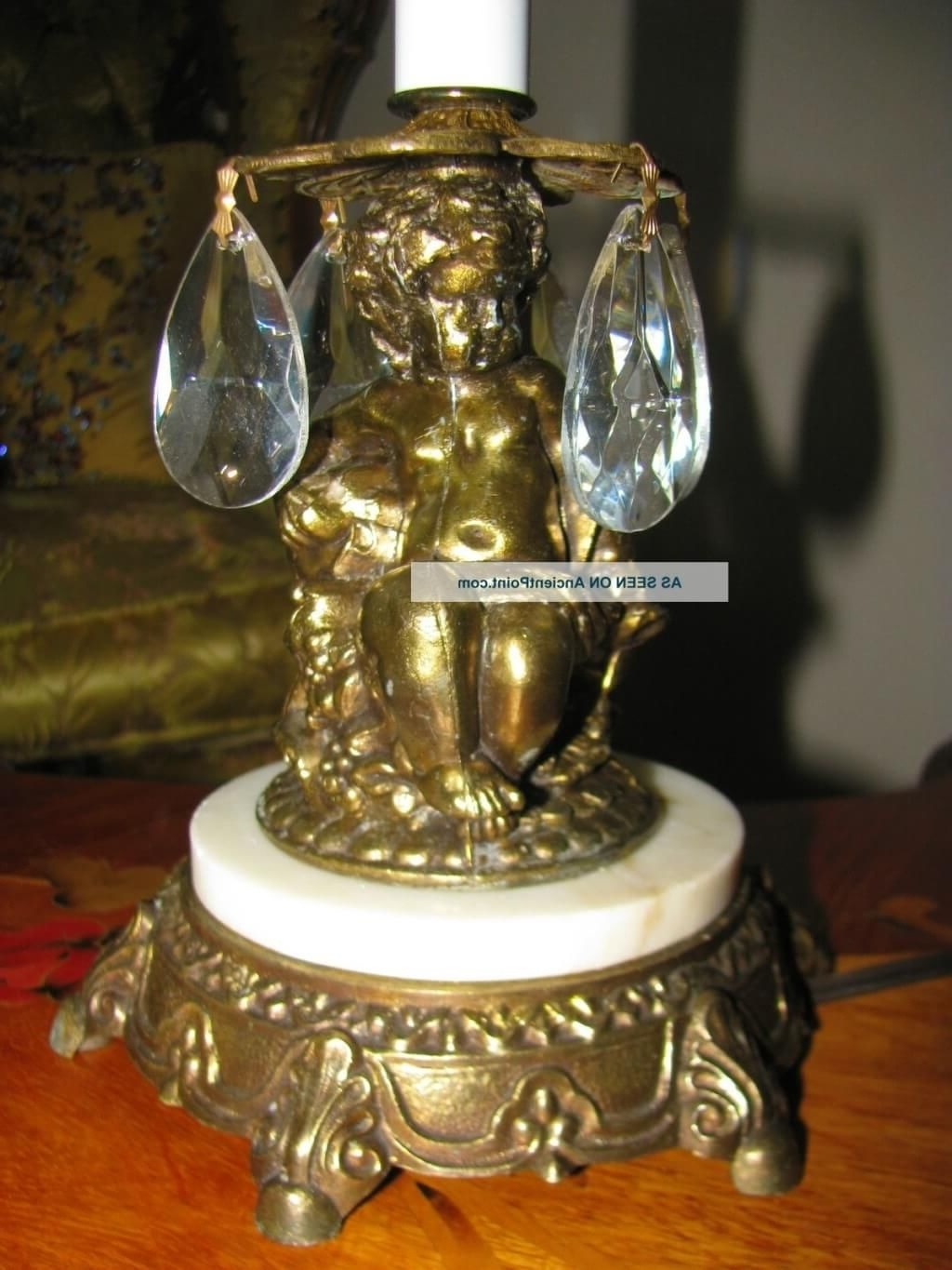 Famous Mini Chandelier Table Lamps Within Lighting: Antique Mini Chandelier Table Lamp With Brass Statue Base (View 4 of 20)