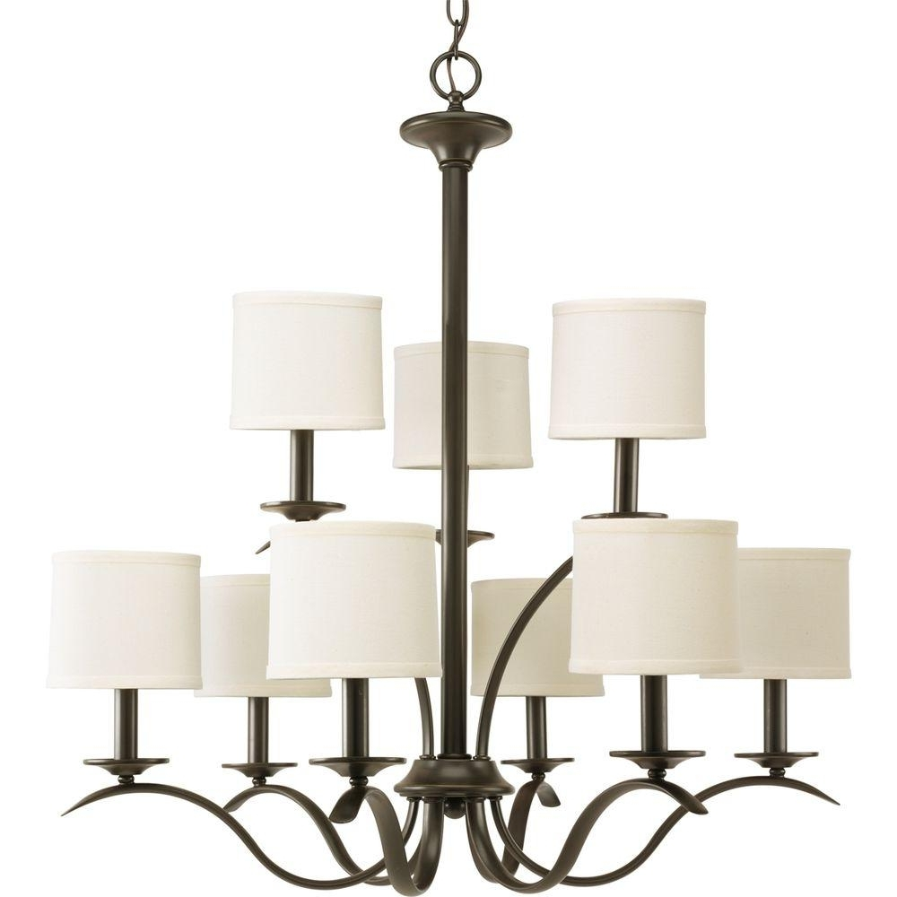 Famous Progress Lighting Inspire Collection 9 Light Antique Bronze With Regard To Linen Chandeliers (View 7 of 20)