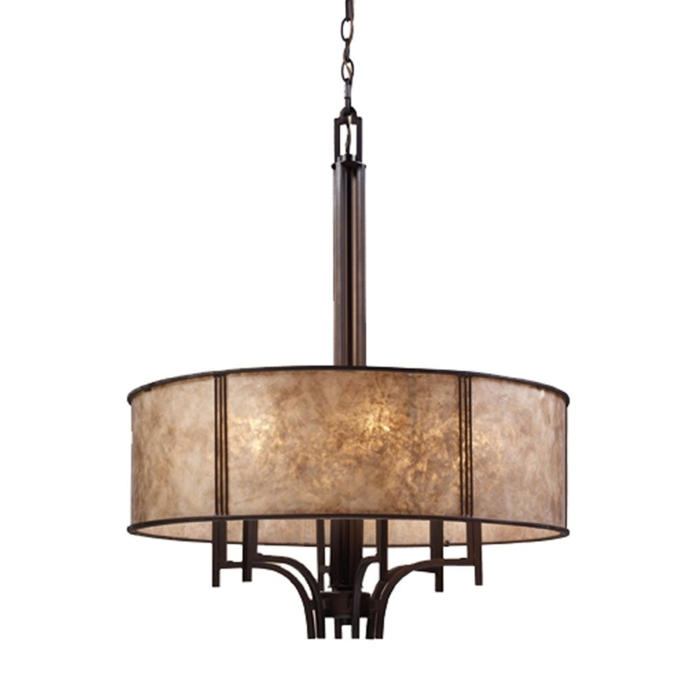 Famous Six Light Chandelier With Mica Drum Shade (View 5 of 20)
