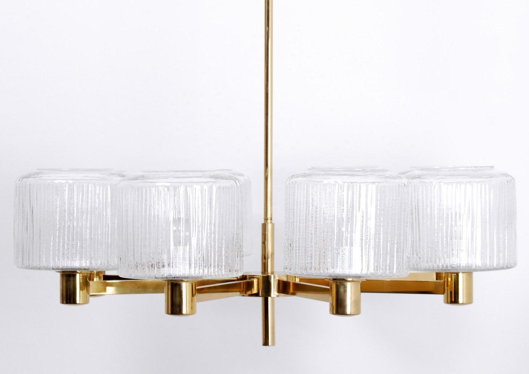 Famous Vintage Large Scandinavian Chandelier In Brass For Sale At Pamono Inside Scandinavian Chandeliers (View 6 of 20)