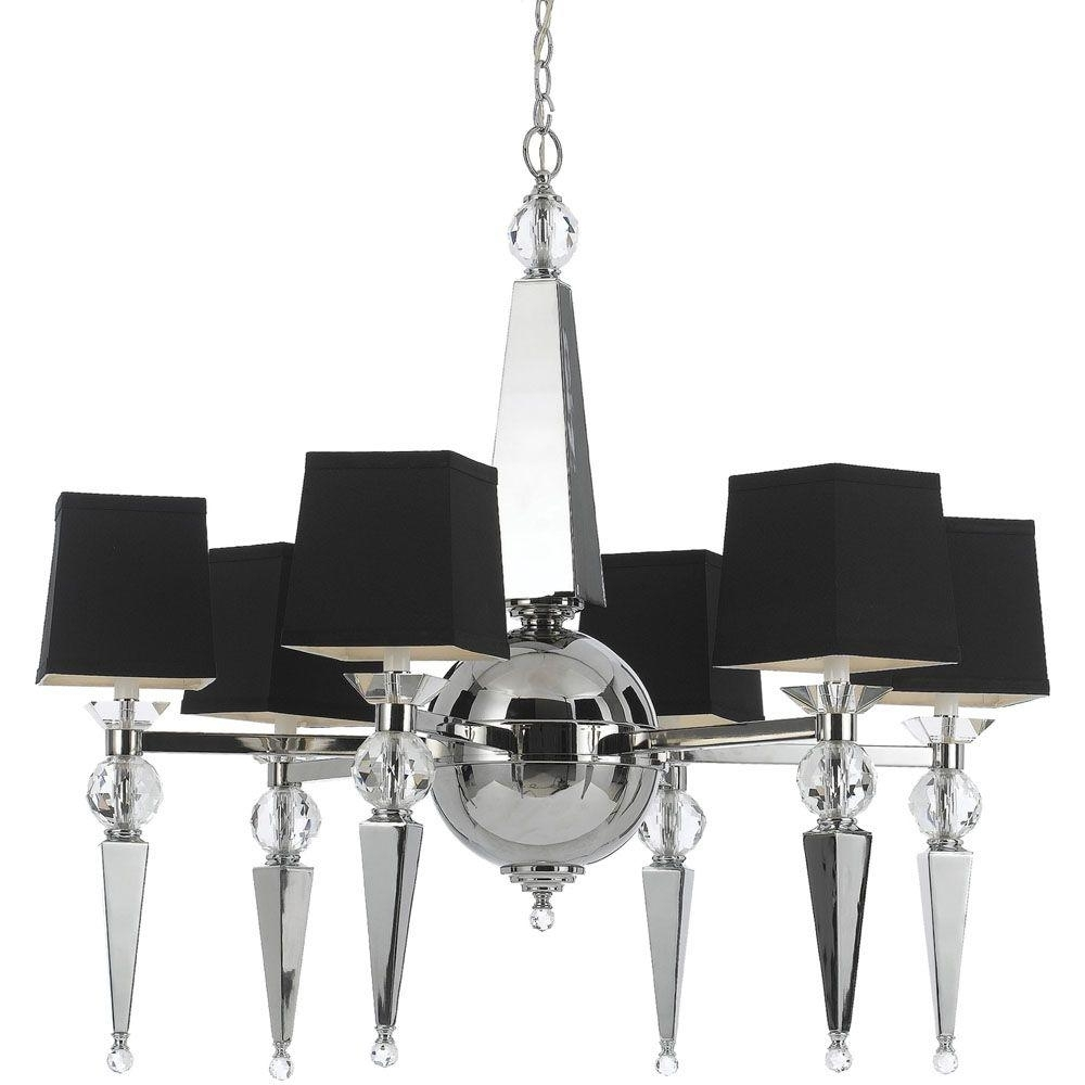 Fashionable Af Lighting Clark 6 Light Chrome Chandelier With Crystal Accents And Intended For Chandeliers With Black Shades (View 10 of 20)